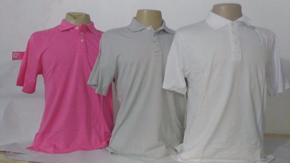 Kit 03 Camisa Polo Masculina Manga Curta Algodão C/ Elastano