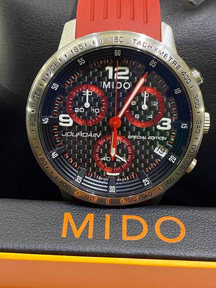 Reloj Mido Jourdain Cronógrafo Cuarzo De Caucho Rojo