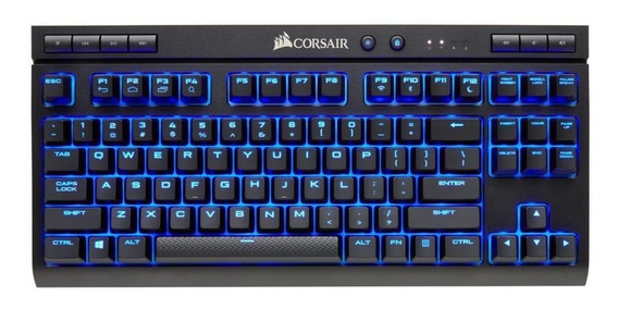 Teclado para pc QWERTY Corsair K63 Wireless Cherry MX Red inglês US preto com luz azul