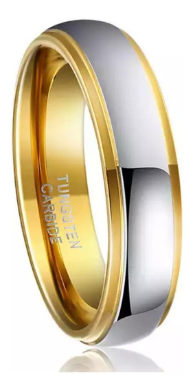 Par De Aliança Tungstênio 6mm Prateada Dourado Casamento