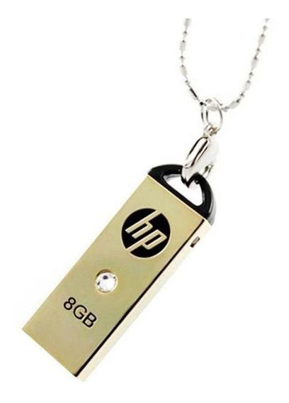 Micro Pendrive Hp 8gb Ouro C/ Colar E Pedra Hpfd223w-08b