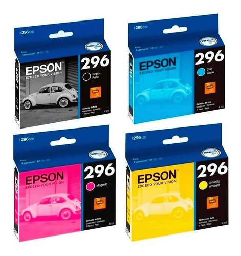 Combo Epson 296 Negro + 3 Colores Original Xp231 Xp431