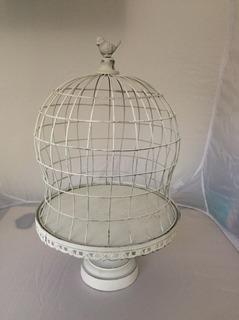 Jaula Decorativa Metal Cupula Con Pajaro Adorno
