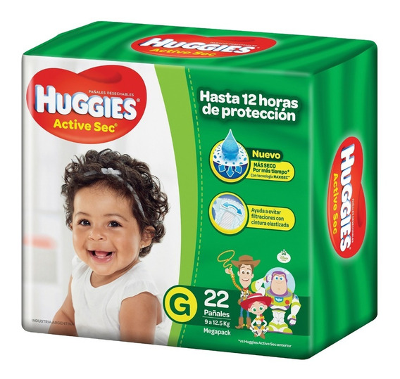 Pañales Huggies Active Sec Mega G X22
