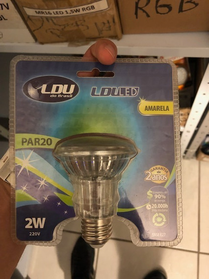 Kit C/5 Pçs Lampada Led E27 Par20 2w Amarela 220v E-27