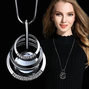 Corrente Feminina Colar Luxo Pedra Strass Elos Promoção