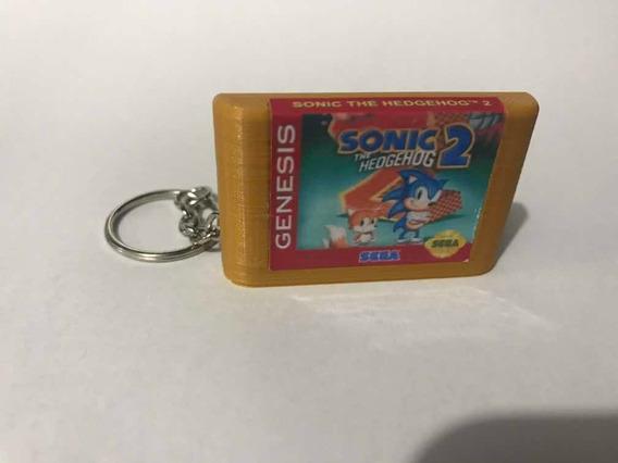 Sonic The Hedgehog 2 Cartucho Dourado Mega Drive Em Chaveiro
