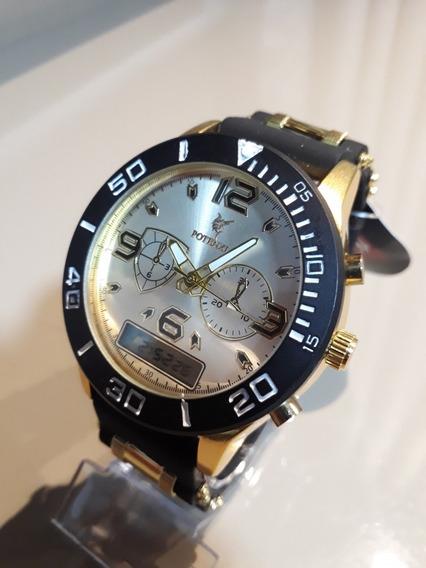 Relógio Potenzia Novo Cx Dourada C Preto C Branco