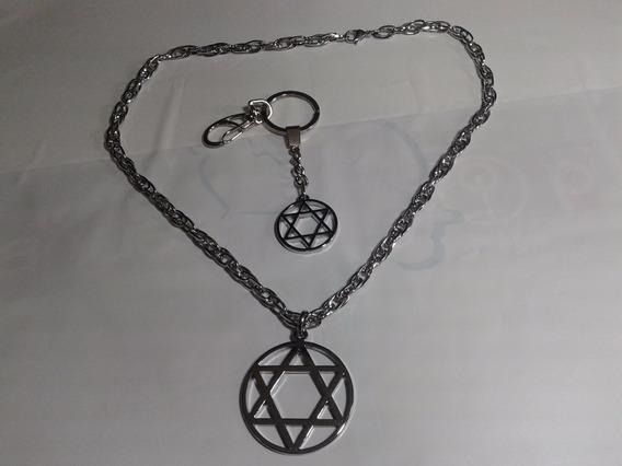 Judaísmo * Corrente + Medalha + Chaveiro + Kipá Veludo 21 Cm