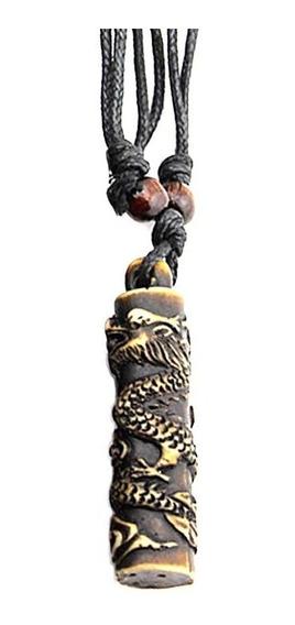 Cordão Colar Pingente Resina Dragão Tribal Dragon Vintage