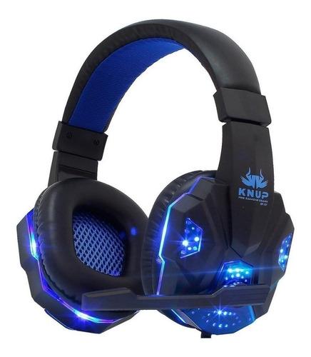 Imagem 1 de 2 de Headset gamer Knup KP-397 preto e azul
