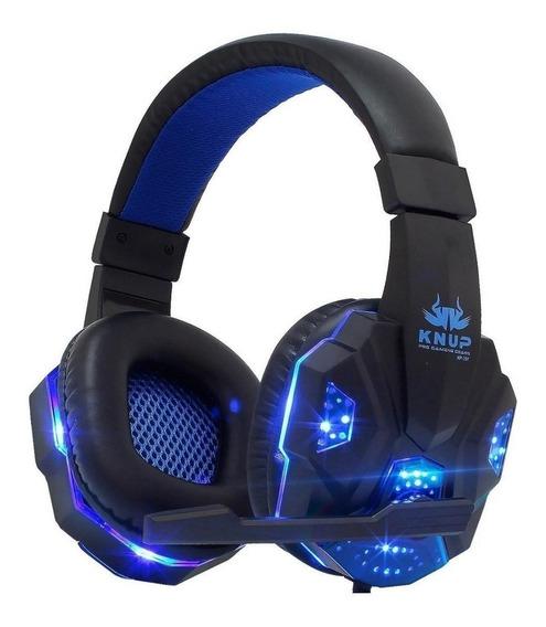 Fone de ouvido gamer Knup KP-397 preto y azul