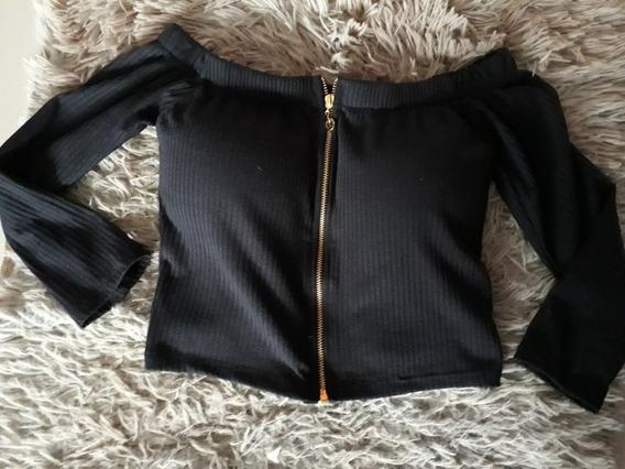 Cropped Feminino Preto Com Ziper