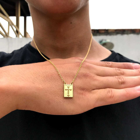 Escapulário Banhado A Ouro 18k. Elos Cartier. Imperdível