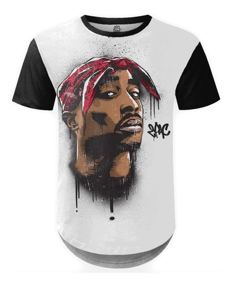 Camiseta Masculina Longline 2pac Tupac Shakur Md04