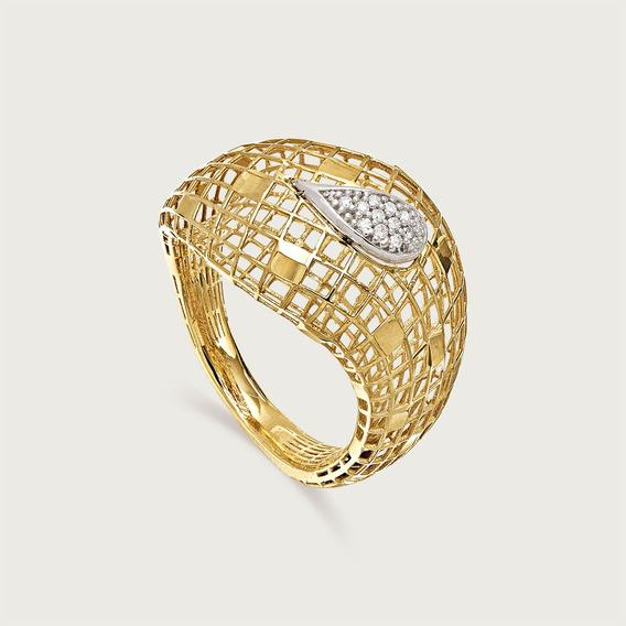 Anel Gota Em Ouro 18k (750) Com Diamantes