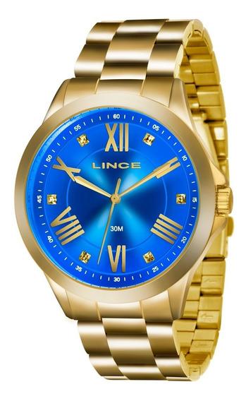 Relogio Lince Feminino Lrgj046l A3kx Azul Dourado Oferta