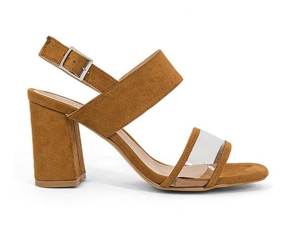 Sandalia Zapato Dama Mica Transparente Plastico Tacon Grueso
