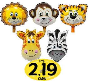 Kit 50 Balão Metalizado Safari Girafa Centro De Mesa