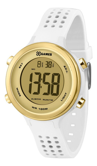 Relógio Feminino Digital Esportivo Branco E Dourado X-games
