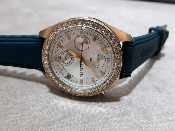Relógio Feminino Original Fossil Dourado Verde E Brilhantes