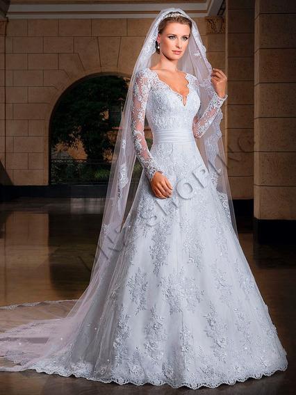 Vestido De Noiva + Véu Sob Encomenda - Frete Grátis