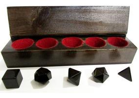 Kit Radiônico Sólidos De Platão 5 Cristais - Pedra Obsidiana