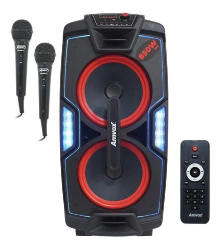 Imagem 1 de 7 de Caixa Som Amplificada C/rodas Bluetooth Amvox 850w Rms Usb L