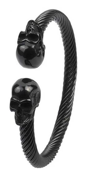 Bracelete Pulseira Aço Inoxidavel Caveira Black Skull Punk
