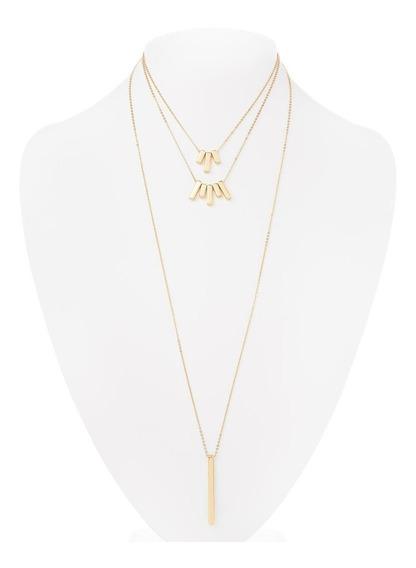 Nice Collar Largo Con Varitas Doradas 3 Niveles Baño Oro18k