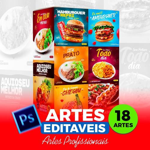 Imagem 1 de 10 de Pack 18 Artes De Alimentação Editáveis Photoshop Psd