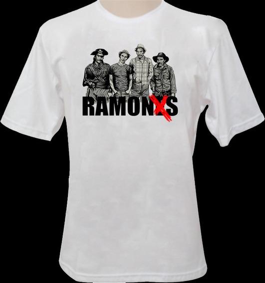 Camiseta Ramones/seu Madruga Branca 100%algodão