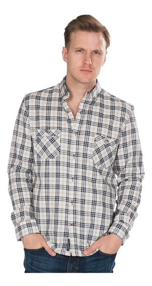Camisas Hombre Slim Fit Casuales Cuadros Beige Rayas B85123