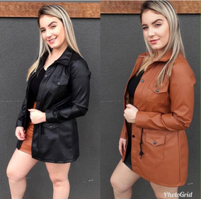 Casaco Parka Sobretudo De Couro Moda Feminina Super Promoção
