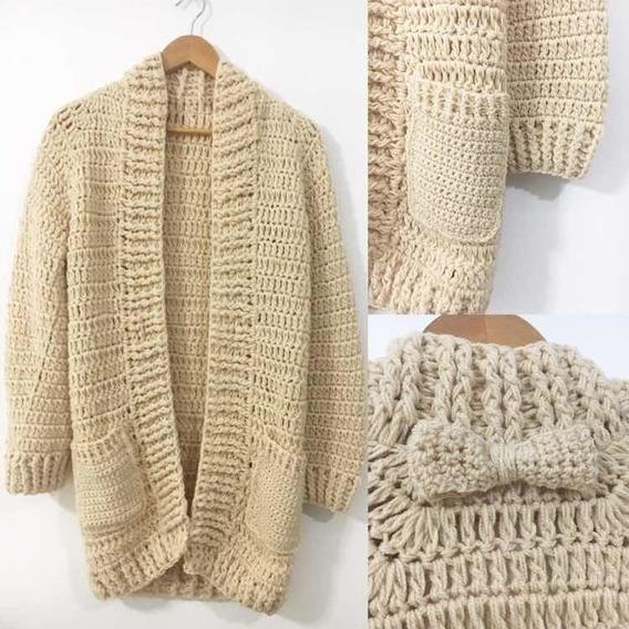 Saco Largo Tejido A Crochet