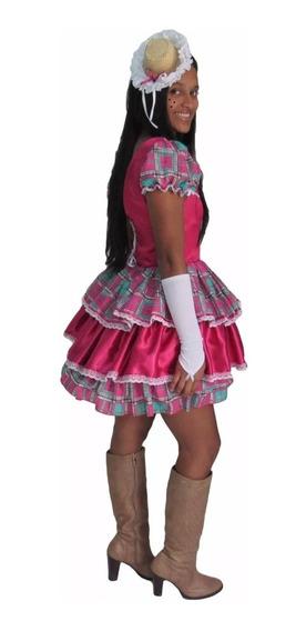 Vestido De Festa Junina Caipira Verde E Rosa Adulto E Luva