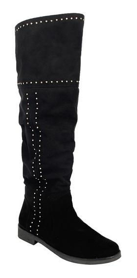 Botas Dama Mujer Largas Tipo Gamuza Negro Casuales
