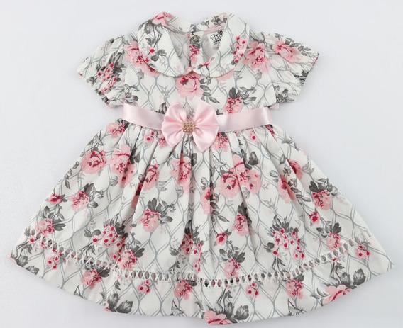 Vestido De Bebe Menina Infantil 100% Algodão
