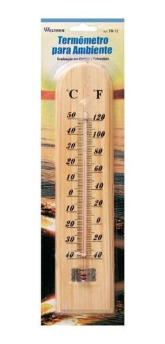 Imagem 1 de 1 de Termometro Para Ambiente Em Madeira Bege Western Tr-12