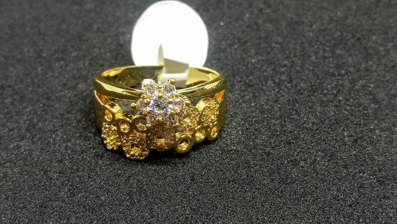 Anillo Tipo Argolla Con Piedra Solitaria, De Chapa De Oro.