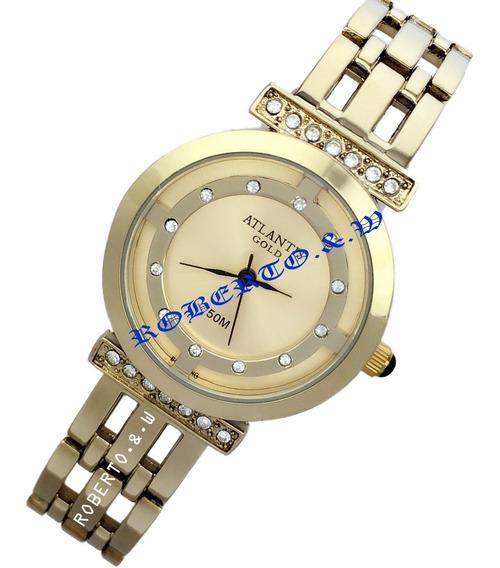 Relógio Feminino Atlantis Dourado Luxo Com Caixinha