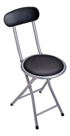 Banqueta Dobrável Circular C/ Encosto Comfort Preta 2440 Mor
