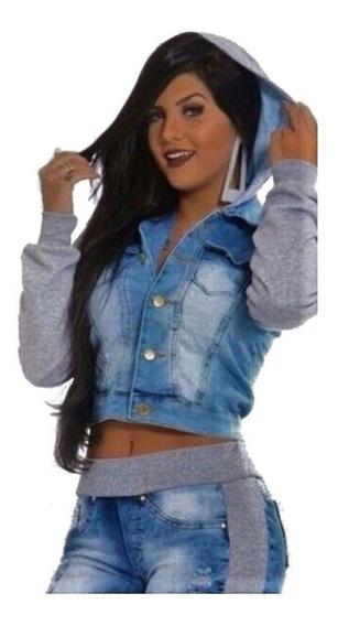 2 Jaquetas Jeans Moletom Casaco Capuz Agasalho Feminina
