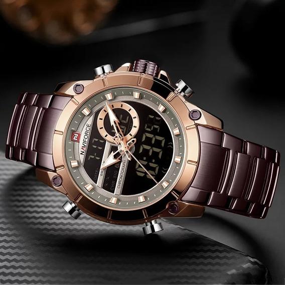 Relógio Masc Naviforce 9163 Marrom Frete Grátis