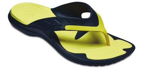Sandalia Crocs Modi Sport Flip Azul Marino / Amarillo