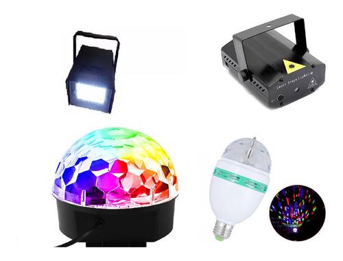 Imagem 1 de 6 de Kit Festa Iluminação Jogo De Luz Dj Balada Strobo Laser