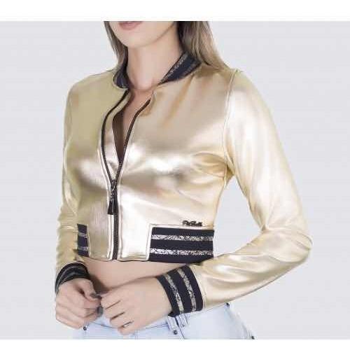 Jaqueta Pit Bull Jeans Dourada Lançamento