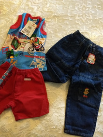 Kit Com 1 Calca Jeans E 1 Conjunto De Regata E Bermuda
