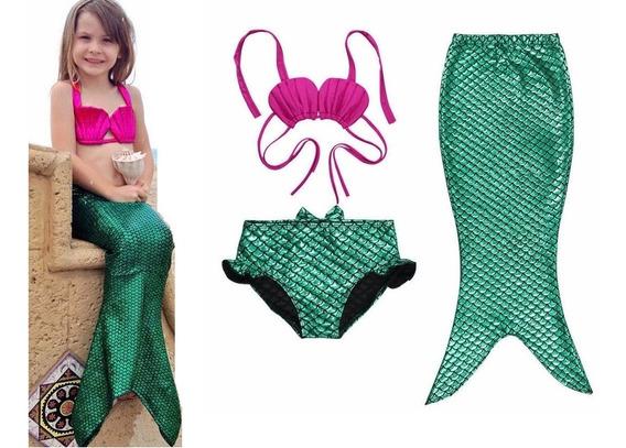 Fantasia Biquini Sereia Ariel Princesa 3 Pecas