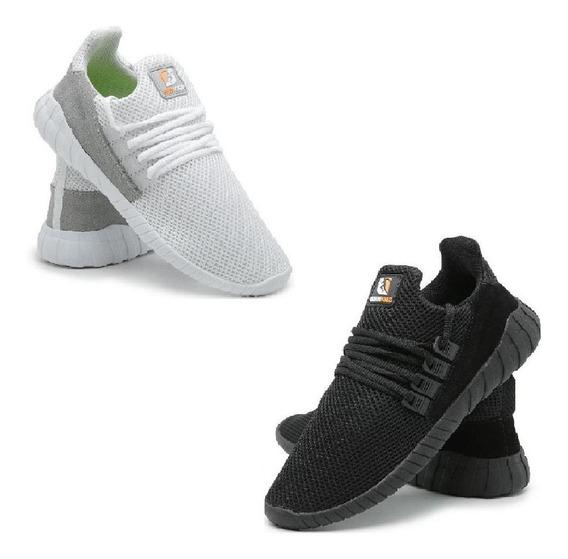 Kit 2 Pares Tênis Sneaker Caminhada Leve Calce Fácil Conforto